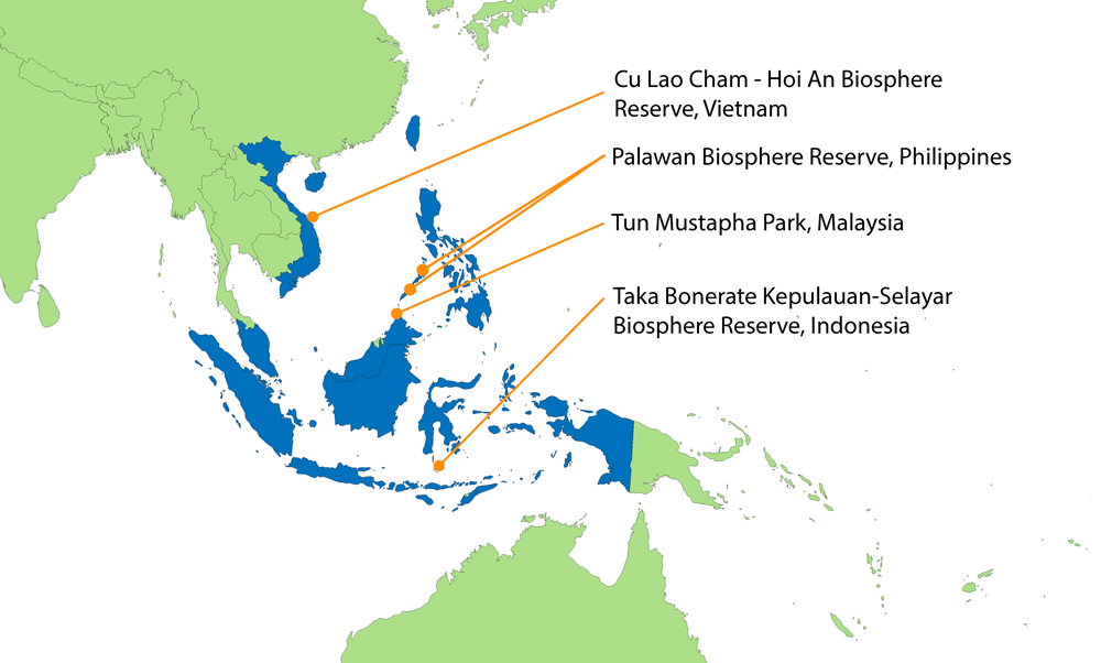 Map showing SE Asia indicating the four case study sites